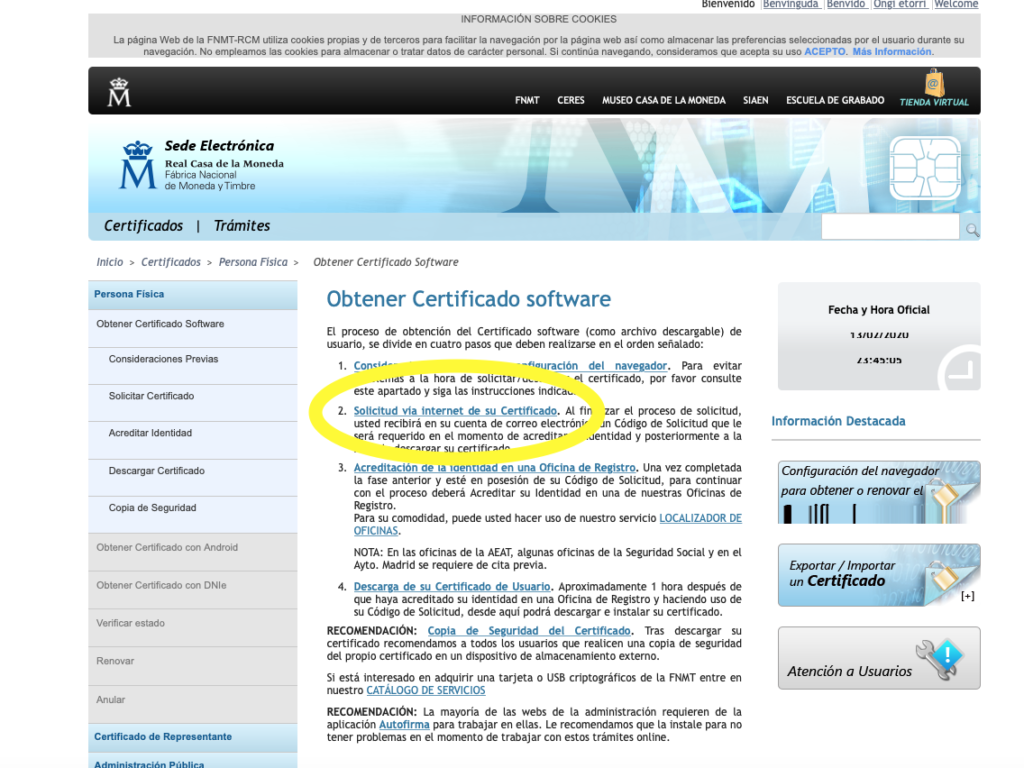 Como conseguir el certificado Digital para personas.